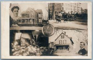SPRINGFIELD MA PHOTOMONTAGE ANTIQUE REAL PHOTO POSTCARD RPPC GUN MURDER STORY