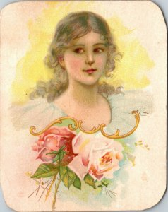 Antique Victorian Trade Card -  SATURDAY NIGHT - BEAUTIFUL WOMAN  QUACK MEDICINE