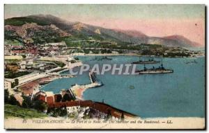 Old Postcard Villefranche harbor and the bay