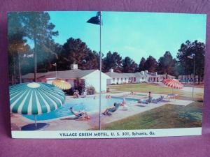 Old Postcard Village Green Motel Sylvania GA