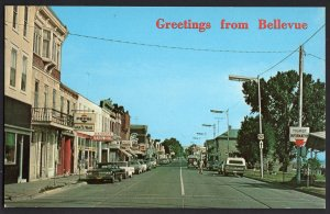 Iowa BELLEVUE Main Street looking North Store Fronts Older Cars - Chrome
