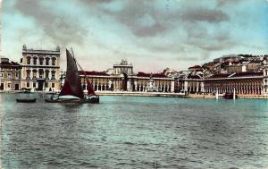Portugal Lisboa Praca do Comercio Square Boat Lake Postcard