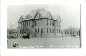 Vtg Postcard RPPC 1940s Williston North Dakota ND Williams County Court House