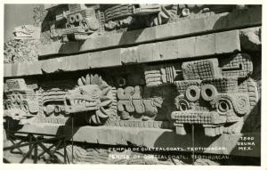 Mexico - Teotihuacan. Temple of Quetzalcoatl.    *RPPC