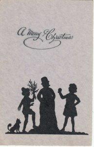 Silhouette ; Christmas snowman , 1910-30s