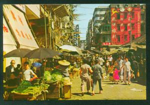 Market Street View in Kowloon Hong Kong Shopping District China Vintage Postcard