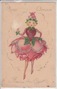 Heart queen caricature Rose Amour Reine du Coeur fantasy rose dress surrealism