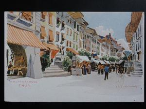 Switzerland: Hauptstrasse THUN, from original Art by J.J. Redmond - Old Postcard