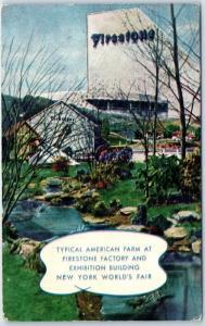 1939 New York World's Fair Postcard Firestone Factory Exposition Bldg & Farm
