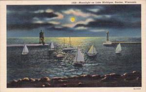 Wisconsin Racine Moonlight On Lake Michigan Curteich