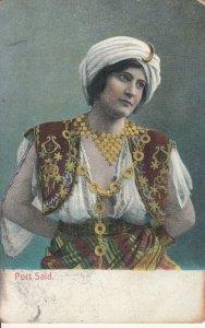 Folk costume Port Said Egypt turkish ethnic type postcard