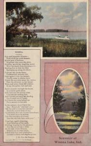 Indiana Winona Lake Souvenir With Poem By J W Van De Venter 1911