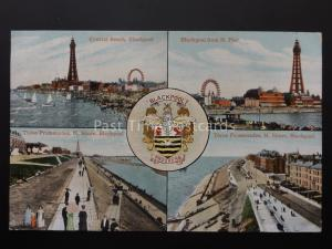 Lancashire BLACKPOOL 4 Image Multiview c1909 Postcard by Valentine