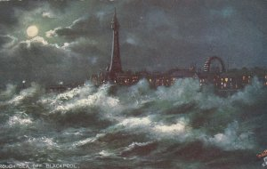BLACKPOOL , UK , 00-10s ; Rough Sea & LIGHTHOUSE at night