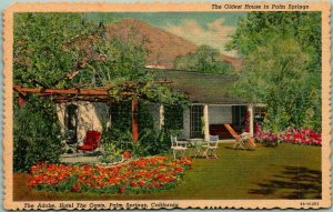 1940s PALM SPRINGS Calif. Postcard The Adobe, HOTEL THE OASIS Linen Unused