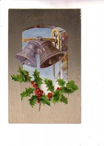 Silver Tower Bells and Holly, Christmas, Embossed, Towson Maryland Metal Hand...