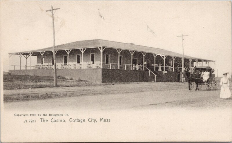Cottage City MA The Casino Horse Carriage Unused Rotograph Postcard G29