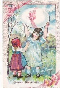 EASTER, 1900-1910's; Easter Greetings Girl Holding A Giant Egg