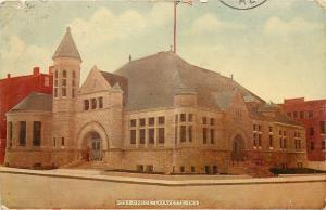 Lafayette Indiana~Shadowy Figure @ Post Office Entrance~Turret 1910 Postcard
