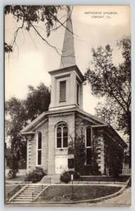 Lemont Illinois~Methodist Church~Tall Steeple~1940s B&W Postcard