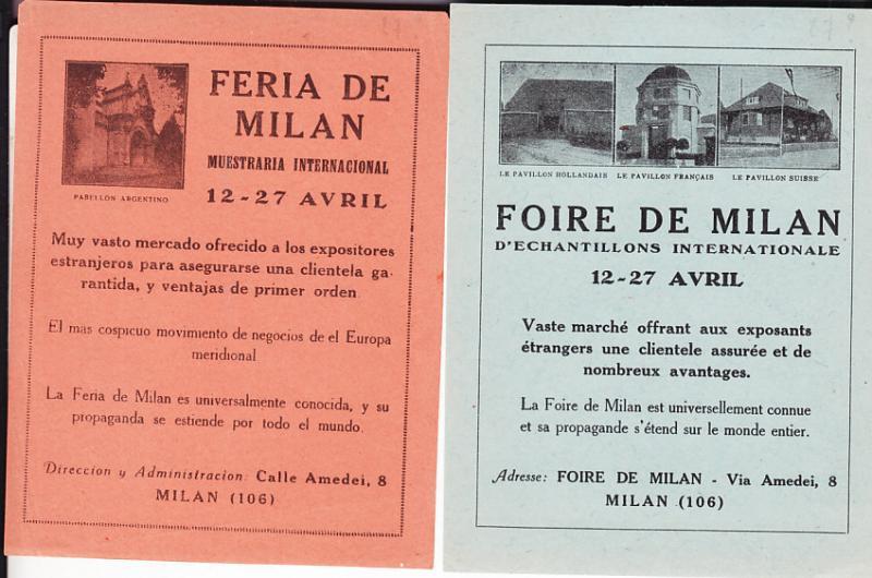 Italy - Two Handbills - Milan Fair