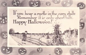 Happy Halloween Black & White. Square inner box with outer border of JOC's