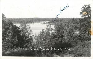 Atlanta Michigan~Houck's at Canada Creek Ranch~Real Photo Postcard 1952