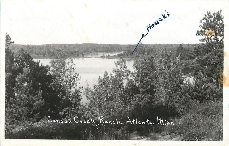 Atlanta Michigan~Houck's at Canada Creek Ranch~Real Photo Postcard 1952