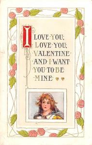 Valentines Day Post Card Old Vintage Antique Postcard 1912
