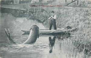 Fishing is always good here 1913  fishing exageration big fish surrealism US PC
