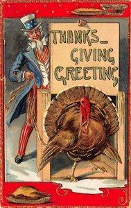 LP14  Uncle Sam Thanksgiving Vintage Postcard Turkey Gilded