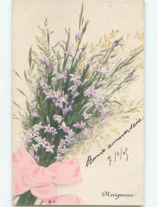 Very Old Foreign Postcard BEAUTIFUL FLOWERS SCENE AA4824
