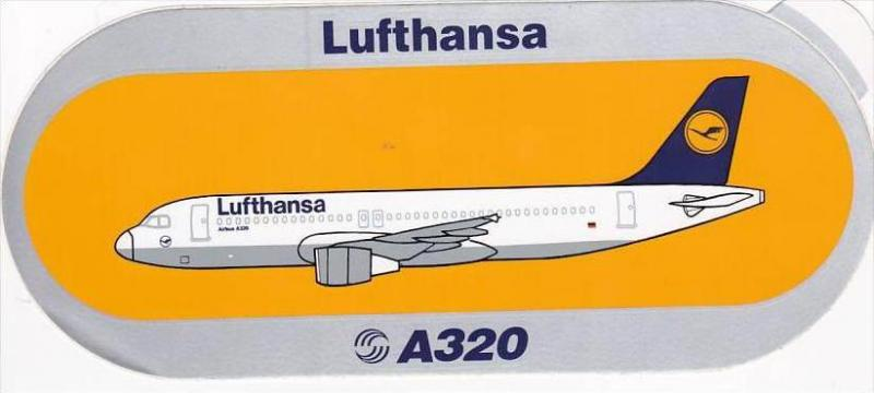 LUFTHANSA AIRBUS A320 VINTAGE AVIATION LABEL