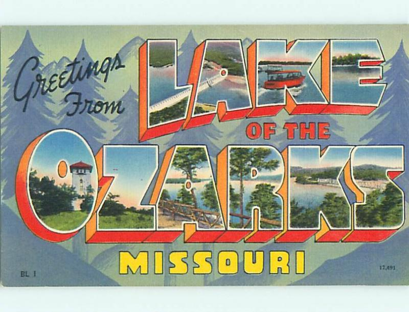 Unused Linen BIG LARGE LETTERS Land Of The Ozarks Missouri MO v4143