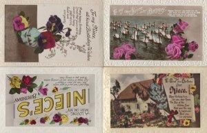 Happy Birthday Niece 4x Antique Greeting Postcard s