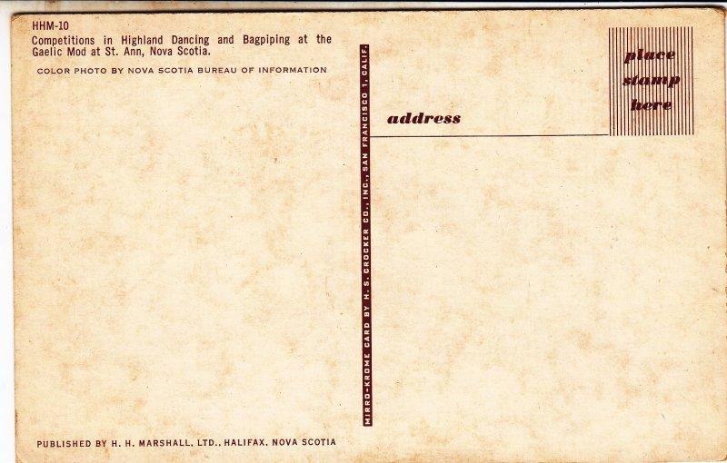 P1761 Canada Nova Scotia St Ann Gaelic Mod Highland Dancing Bagpiping Postcard