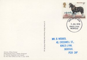 Norfolk Shire Horse First Day Of Issue Cover Ltd Postcard