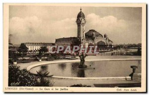 Old Postcard Limoges Train And Gardens