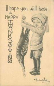 Boy holding Animal Artist impression Happy Birthday 1914 Postcard 966