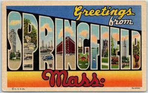 SPRINGFIELD Massachusetts Large Letter Postcard Curteich Linen c1940s Unused