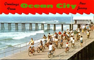 New Jersey Greetings From Ocean City Showing Bicycling On The Boardwalk