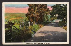 ME Greetings from KINGFIELD MAINE Postcard PC