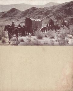 COVERED WAGON TRAIN ANTIQUE PENNY CARD