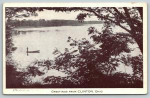 Clinton OH~Fisherman Lives Dangerously~Stands @ Back of Rowboat~Luna Lake*~1920s