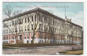 High School Fort Wayne Indiana 1917 postcard