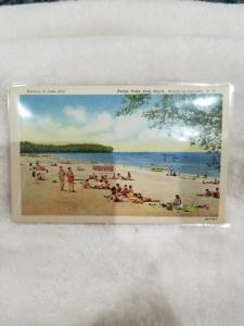 Antique Postcard Bathing in Lake Erie, Evans Town Park Beach, Angola-on-the-Lake