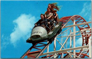 Santa Cruz Beach Boardwalk Postcard JET STAR Roller Coaster Amusement Park 1975