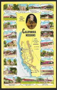 Map & Views of California Spanish Missions California Unused c1955