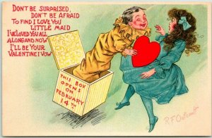 1900s Artist-Signed Outcault VALENTINE'S DAY Postcard Jack in the Box Tuck's 112