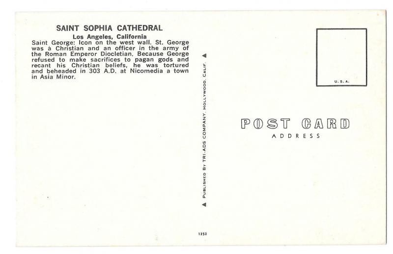 St George Icon Saint Sophia Cathedral Los Angeles CA Postcar